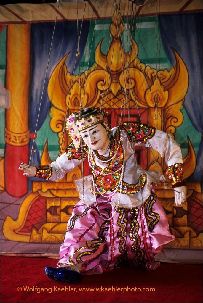 MYANMAR(BURMA), PAGAN, TRADITIONAL BURMESE PUPPET SHOW, PUPPET