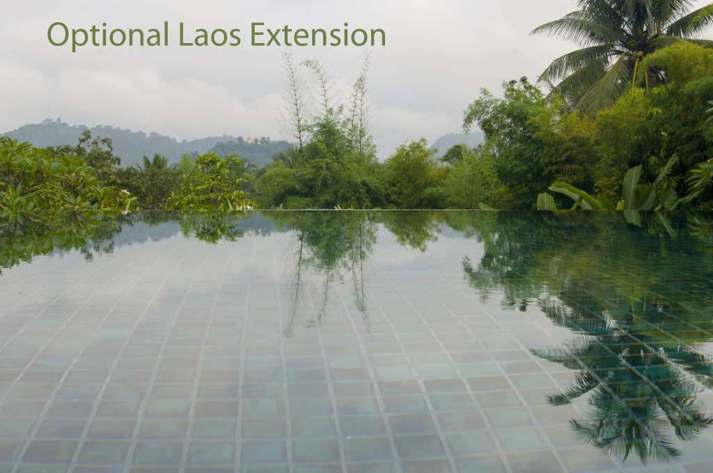 The endless pool in the garden of the La Residence Phou Vao Hotel in Luang Prabang, central Laos.