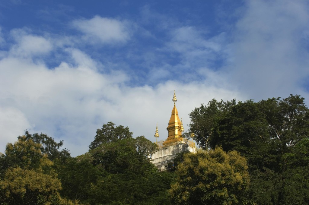 LAOS, LUANG PRABANG, VIEW OF PHOUSI HILL WITH PHOUSI STUPA FROM TEMPLE, VAT MAI